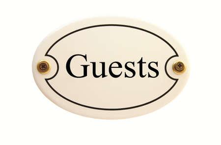 Guests oval enamel Door Sign white