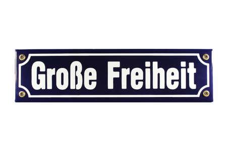 Große Freiheit Hamburg St  Pauli German enamel Street Sign Stock Photo