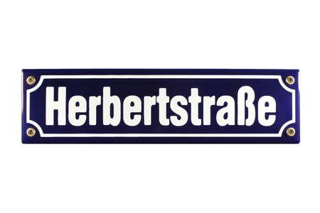 Herbertstra�e Hamburg St  Pauli German enamel Street Sign Stock Photo - 16934955