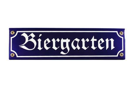 biergarten: Biergarten German enamel Street Sign