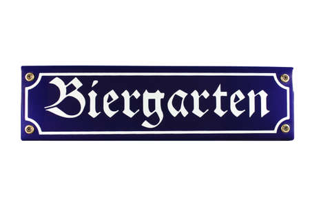Biergarten German enamel Street Sign
