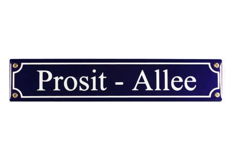 emaille: Prosit Allee German enamel Street Sign Stock Photo