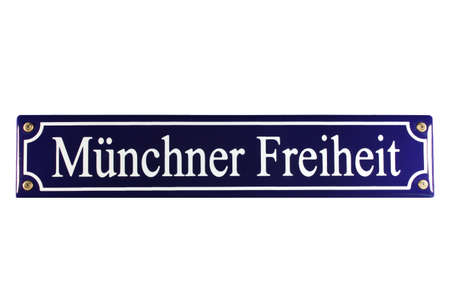 Münchner Freheit German Enamel Street Sign Stock Photo