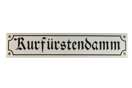 emaille: Kurf�rstendamm Berlin German Enamel Street Sign Stock Photo