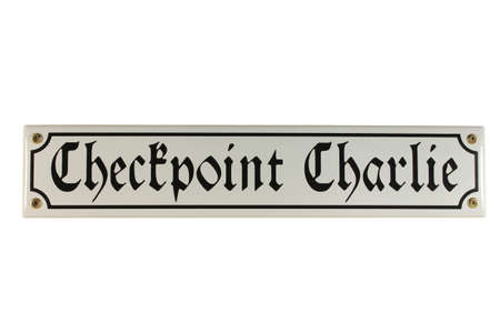 emaille: Checkpoint Charlie West Berlin German Enamel Street Sign