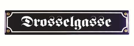 emaille: Drosselgasse R�desheim German Enamel Street Sign Stock Photo
