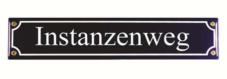 emaille: Instanzenweg German Enamel Street Sign