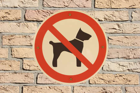 Hunde verboten with brick wall German sign Stock Photo - 16950212