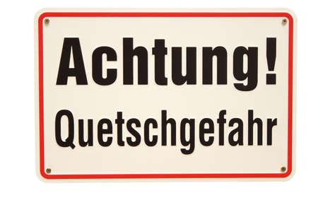 Achtung Quetschgefahr German sign Stock Photo - 16949515