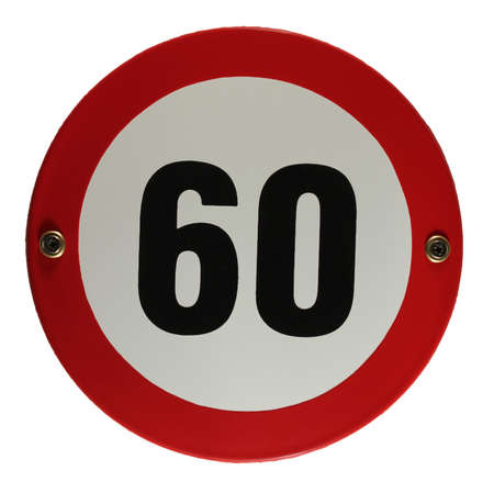 trafic: Round enamel trafic sign 60 speed limit
