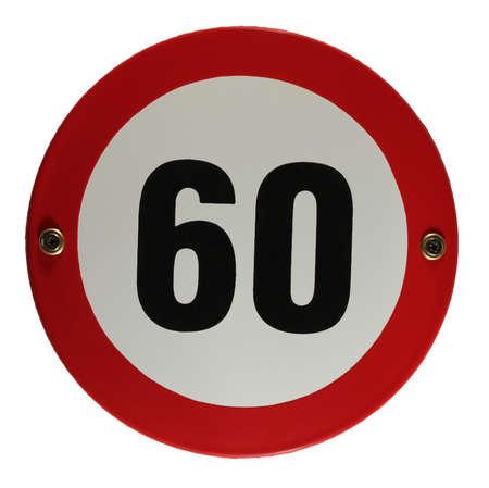 Round enamel trafic sign 60 speed limit Stock Photo - 16952959