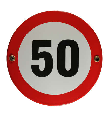 Round enamel trafic sign 50 speed limit Stock Photo - 16952944