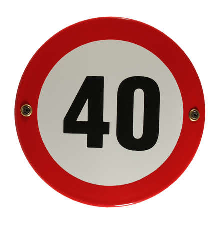 trafic: Round enamel trafic sign 40 speed limit