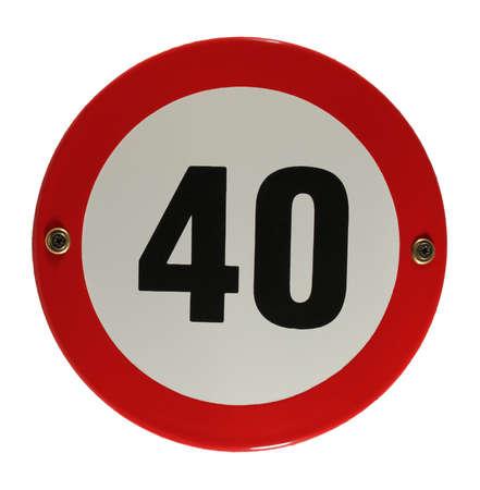 Round enamel trafic sign 40 speed limit Stock Photo - 16952953