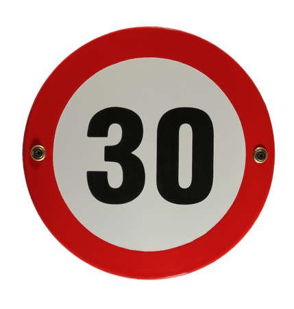 Round enamel trafic sign 30 speed limit Stock Photo - 16952958