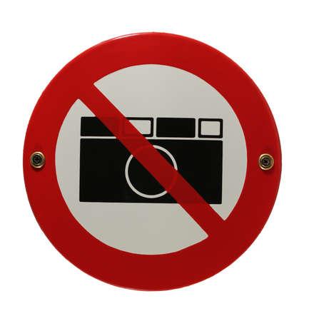 Round enamel sign no cameras allowed Stock Photo - 16952950