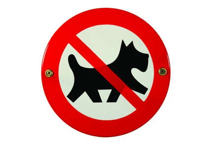 Round enamel sign no dogs allowed photo