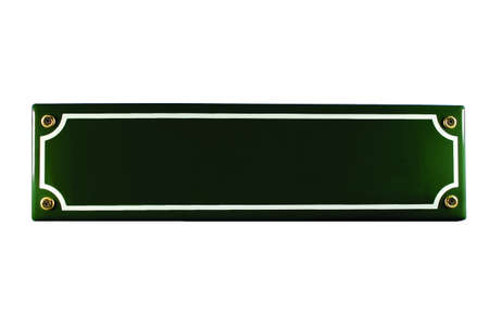 Green enamel street sign isolated without text Stock Photo