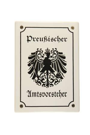 Preu�ischer Amtsvorsteher German enamel sign  photo