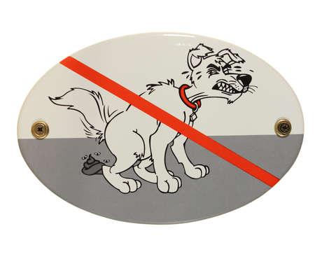 dog dirt prohibited oval enamel sign Stock Photo