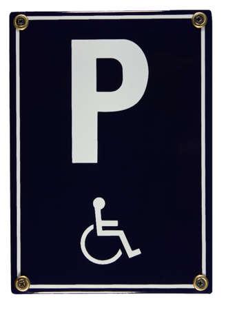 Behindertenparkplatz parking disabled Schild German enamel sign Stock Photo