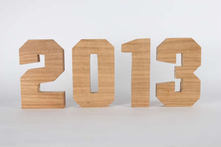 buchstabe: 2013 text from wood numbers Holz white Background straight Stock Photo
