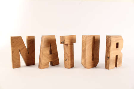 buchstaben: NATUR German text from wood letters Holz Buchstaben white Background