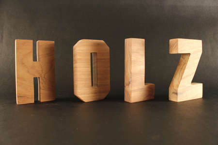 HOLZ German text from wood letters Buchstaben black Background Stock Photo - 16975699