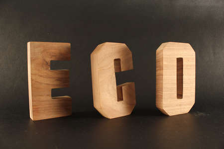 typ: ECO text from wood letters Holz Buchstaben black Background