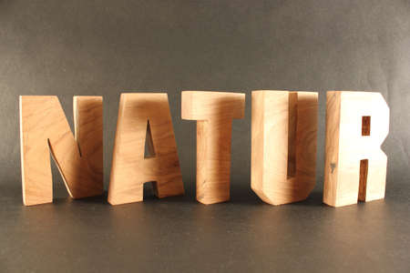 buchstabe: NATUR German text from wood letters Holz Buchstaben black Background