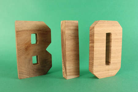 lettre: BIO text from wood letters Holz Buchstaben green Background Stock Photo