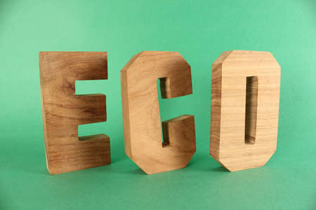 buchstabe: ECO text from wood letters Holz Buchstaben green Background