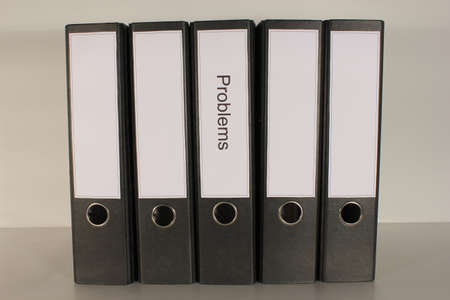 bindings: Document file Problems plus 4 vacant black folders