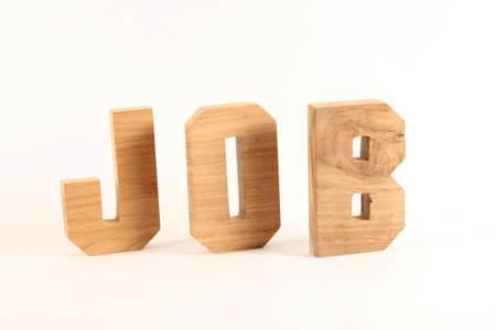 buchstabe: JOB text from wood letters Buchstaben white Background Stock Photo