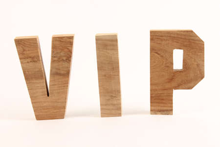 VIP text from wood letters Holz Buchstaben straight Stock Photo - 17138603