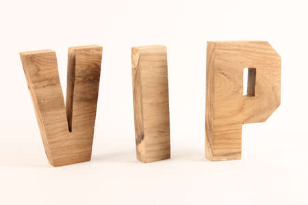 naturholz: VIP text from wood letters Buchstaben white Background