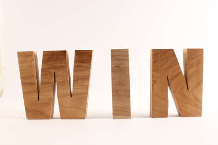 lettre: WIN text from wood letters Buchstaben straight
