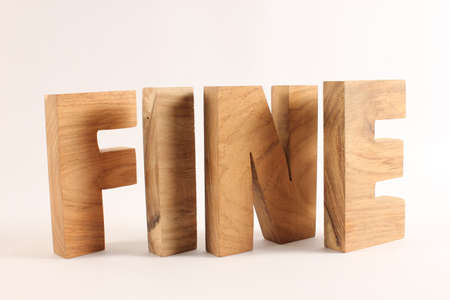 FINE text from wood letters Holz Buchstaben white Background Stock Photo