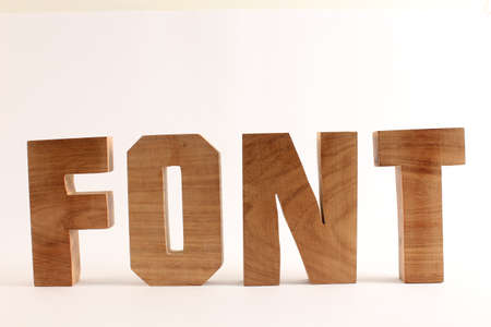 FONT text from wood letters Holz Buchstaben white Background straight