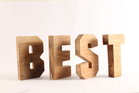 naturholz: BEST text from wood letters Holz Buchstaben white Background