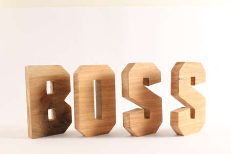 BOSS text from wood letters Holz Buchstaben white Background Stock Photo - 17458630