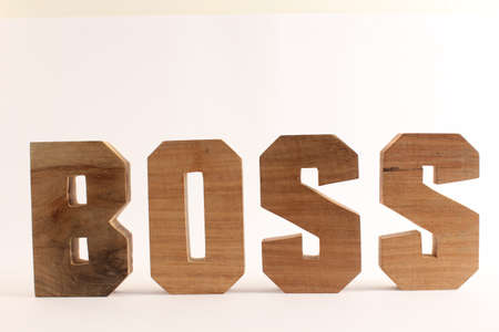naturholz: Boss text from wood letters Holz Buchstaben white Background straight