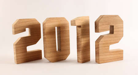 buchstaben: 2012 text from wood letters Holz Buchstaben white Background