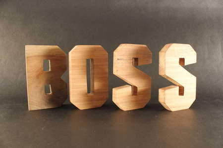 lettre: BOSS text from wood letters Holz Buchstaben black Background