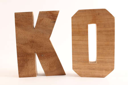 lettre: KO text from wood letters Buchstaben white Background straight
