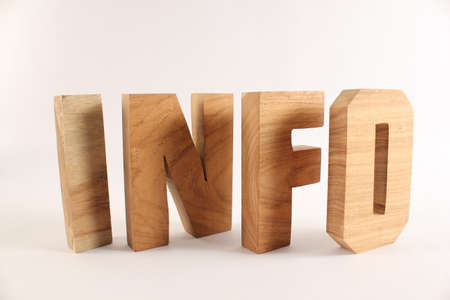 naturholz: INFO text from wood letters Buchstaben white Background Stock Photo