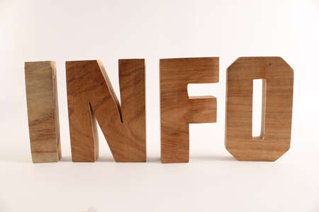 naturholz: INFO text from wood letters Holz Buchstaben white Background straight