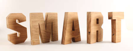 naturholz: SMART text from wood letters Holz Buchstaben white Background Stock Photo