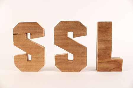 buchstaben: SSL text from wood letters Holz Buchstaben white Background