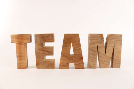 TEAM text composition with natural wood letters version 1 Stock Photo